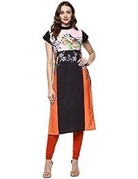 Ziyaa Women's Multicolor Color Floral Print Straight Crepe Kurta (ZIKUCR1847)