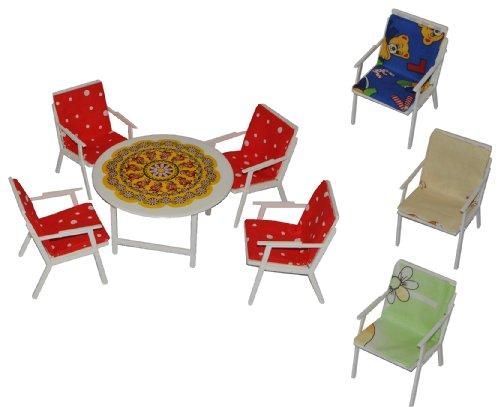 Unbekannt 1 Set: Gartenmöbel mit 4 Stühle und Tisch + 4 Stuhlauflagen - Kunststoff - Möbel Set...