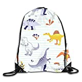 Drempad Tunnelzug Rucksäcke, Zoo Dinosaur Stripes Charm Party Patterned Themed Printed Drawstring...