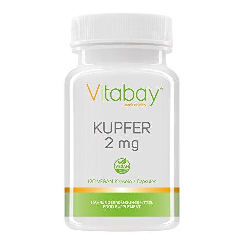 Mineral-supplement 120 Kapseln (Kupfer 2 mg - Kupfergluconat - rein vegan und natürlich - 120 vegane Kapseln)