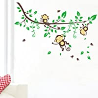 Sumlake Cartoon Forest Monkeys Tree Branches Wall Art Stickers Decal Decoration