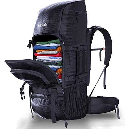 Prärieulv Backpacker Rucksack Set - 70L Trekkingrucksack Wanderrucksack Frontlader mit Innengestell, wasserabweisend inkl. Regenhülle + Kleiner Faltbarer Rucksack 20L, schwarz