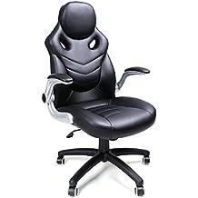Songmics Silla giratoria de oficina Silla de escritorio Racing negro Recubrimiento de PU Reposabrazos ajustable OBG61B
