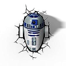 3d Deco Light Fx Lampada da Parete Disney Star Wars with Crack Sticker con Adesivi R2D2