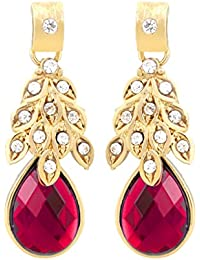 BIG Tree Traditional Golden Crystal Leaf Drop Earring For Women And Girls