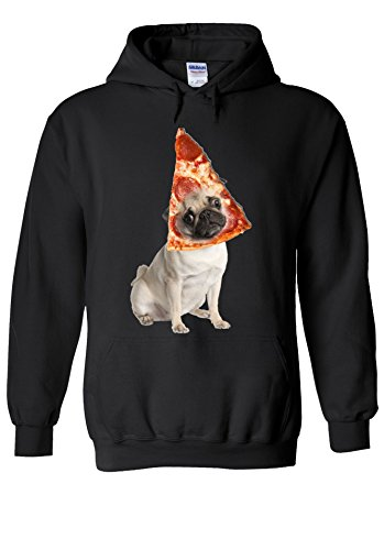 Pizza Pug Cute Dog Animal Novelty Black Men Women Unisex Hooded Sweatshirt Hoodie-XL (Red Dog Herren)