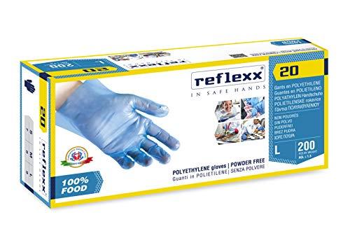 REFLEXX R20/M Polyethylen Handschuhe ideal für Lebensmittel Handhabung, Gr. Medium, Blau (100Stück) -