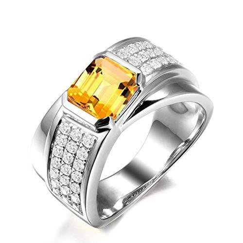 SonMo Ring 925 Sterling Silber Trauringe Hochzeit Ring Eheringe Silber Rechteck Form Breit 3 Kreis Zirkonia Solitär Gelb Topas Quadratschliff Ringe für Frauen 65 (20.7) (Gelber Princess-cut Diamant-ring)