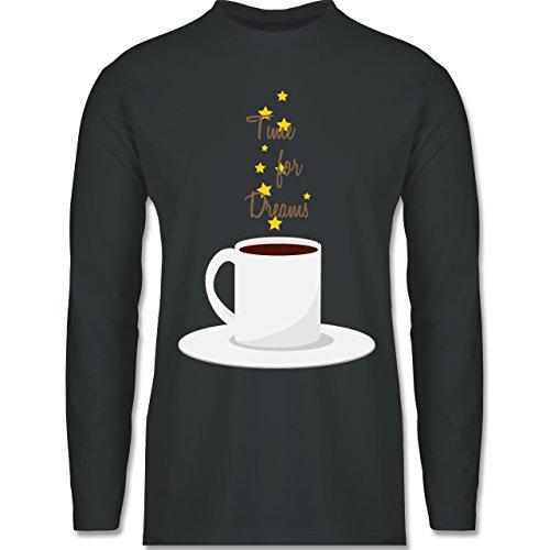 Küche - Kaffee-Tee-Spruch - Longsleeve / langärmeliges T-Shirt für Herren Anthrazit