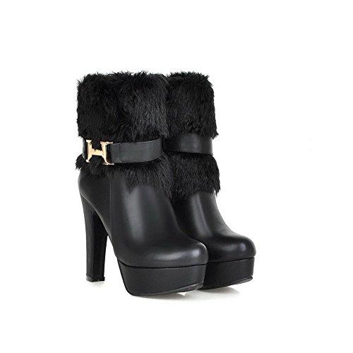 VogueZone009 Damen Hoher Absatz Rein Weiches Material Reißverschluss Stiefel mit Schnalle, Schwarz, 34