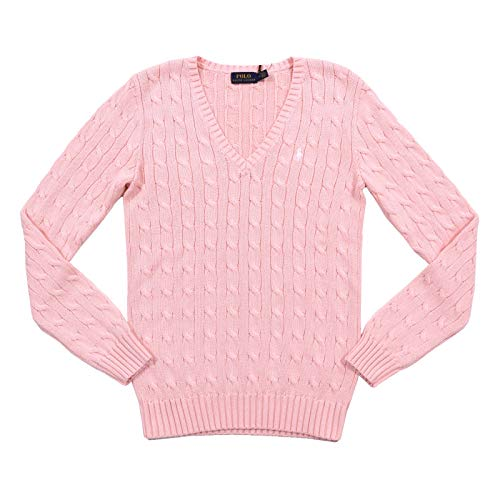 Ralph Lauren Cable Knit V-Neck Kimberly Damen Pullover rosa (Pale Pink) S