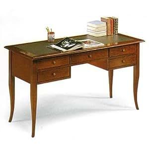 bureau en bois executive bureau bureau classique dessus en cuir cm 130 x 65 h 81 fabriqu. Black Bedroom Furniture Sets. Home Design Ideas