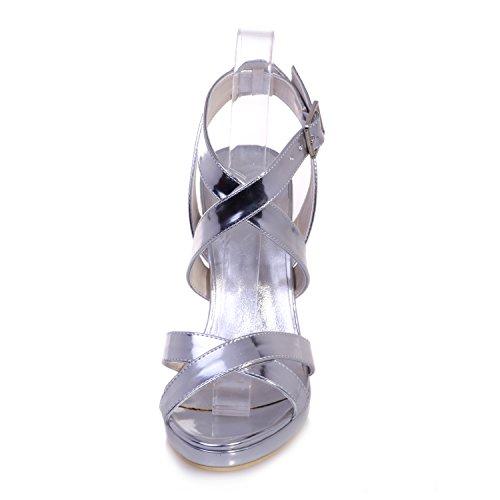 Chalmart Sandales Femme Sandales à Talon élégant Chaussures De Talon Mode Bout Ouvert Argenté