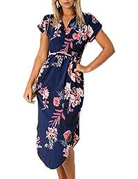 Ajpguot Donna Scollo V Corta Abito a Manica Corta Estivo Bohemian Vestiti a  Stampa Fiore Elegante Vestito da Spiaggia Partito Midi Abiti con… c08816b6c99