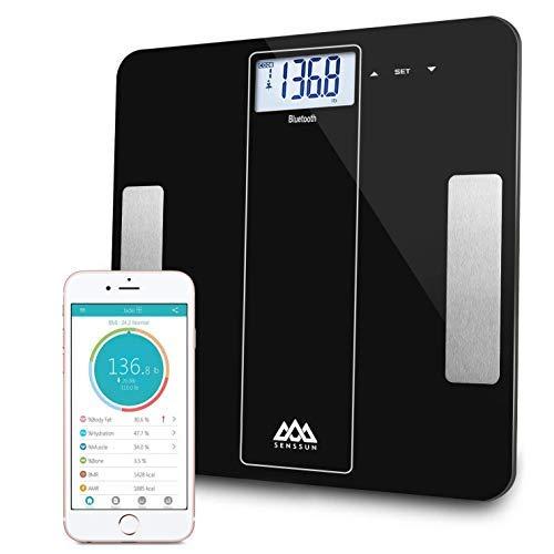 SENSSUN Bluetooth Medidor Inteligente de Masa Corporal,Báscula Digital de baño de Peso,BMI Báscula de Peso, Analizador de Composición de Cuerpo con IOS y Android APP Español- Negro