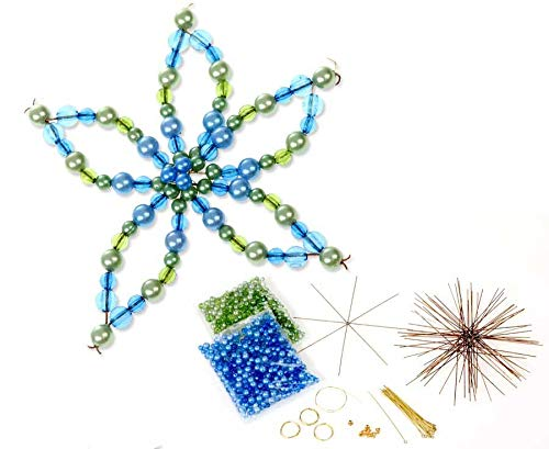 Betzold Blumen Draht-Set, mit 12 Drahtsternen, 2 Verschiedene Größen, in grün / blau - Bastelset Perlen Kinder basteln Kindergarten Weihnachtsdeko Weihnachtsschmuck