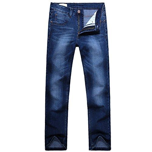 OCHENTA Herren lange Jeanshosen Plus Groesse Elastisch Geradetyp Freizeithose Dunkelblau