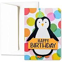 Joyeux anniversaire - joyeux anniversaire-pingouin-pingouin grassouillet - carte de voeux avec enveloppe (15 x 10,5 cm) - carte faite à la main - blanc à l'intérieur