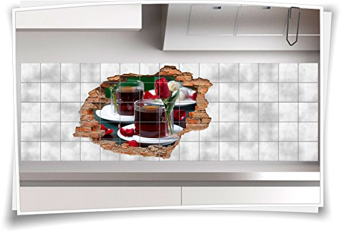 Fliesenaufkleber Fliesenbild Wanddurchbruch Tee Teezeit Rose Tischdeko Tea Time, 105x70cm, 20x25cm (BxH) -