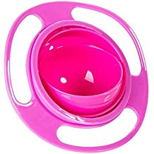 JUYUAN 1 pcs No Spill Feeding Toddler Gyro Bowl 360 Rotate lid Baby Kid Children Spilling Proof Feeder Dishes