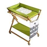 Wickeltische kommoden Hölzerne Baby Wickeltisch mit Lagerung und Rädern, Falten Kleinkind Kindergarten tragbare Windelstation, grün