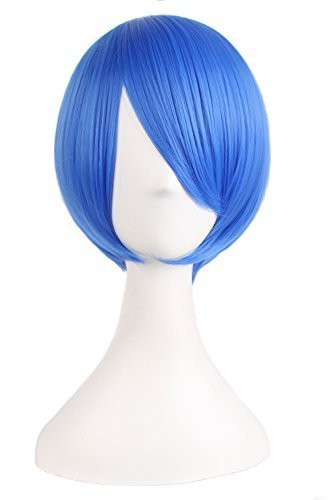 MapofBeauty 25cm/10 Pouce Moyen Droit Homme Droit Perruques (Marine Bleu)