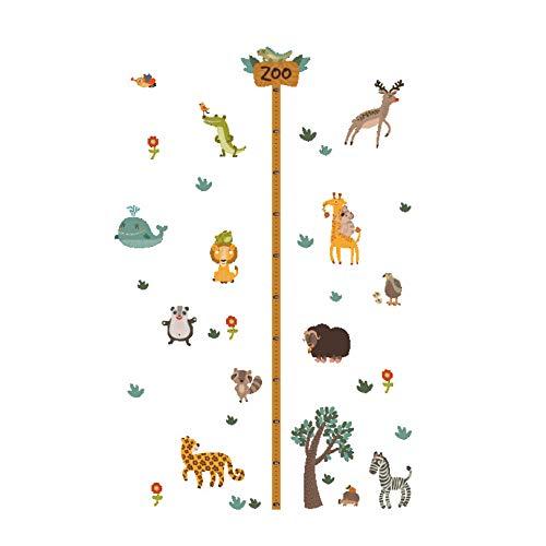 Dschungel Wildwald Zootiere Baum Höhe Maßnahme Wandaufkleber für Kinderzimmer Safari Wachstumstabelle Affe Löwe Wandtattoo -