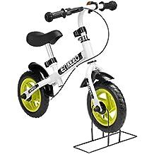 """Enkeeo - 10"""" Bicicleta de Equilibrio, Bicicleta sin Pedales para Los Niños de 2-5 Años, Marco de Acero al Carbono, Manillar y Asiento Ajustable, con Timbre y Freno de Mano, 50kg de Capacidad, Blanco"""