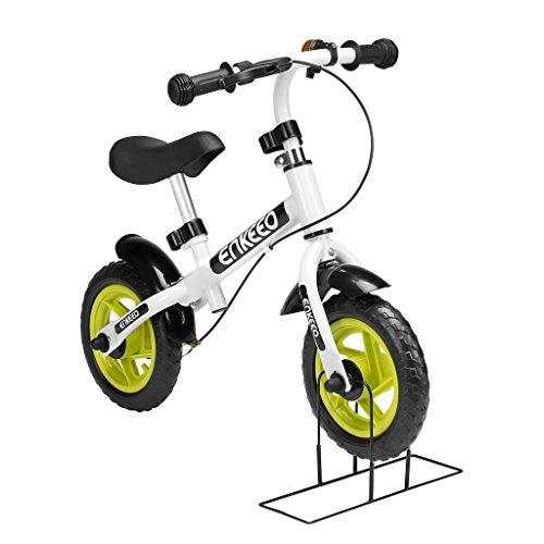 ENKEEO Prima Bici Senza Pedale per Bambini Bicicletta Altezza meno di 1m, Telaio in Acciaio al Carbonio, Sella e Manubrio Regolabile, 1 Campana Capacità fino a 50kg, Bianco