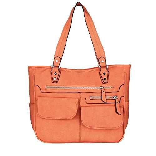 Yadelai Damen Shopper Handtasche,Frauen Umhängetasche Große Kapazität Weiche PU-Leder Tote Handtaschen, Multi-Tasche Laptop Reise Work Schulter Crossbody Tote Schultertasche für Frauen (Braun) -