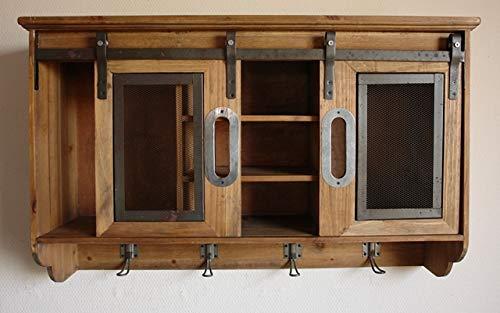 Wandschrank Schiebetüren Vintage Holz Draht