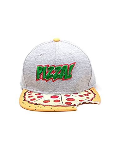 Meroncourt Teenage Mutant Ninja Turtles (Tmnt) Pizza Bite Snapback Multi-Colour (Sb080602Tmt) Baseball Cap, Multicoloured (Grey), One Size