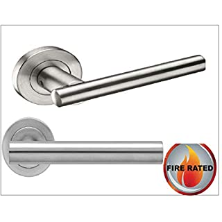 Straight T Bar Door Handle Pack (Internal Latch Set) Satin Stainless Steel