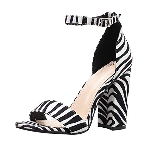 Peep Toe Tacon Alto Cebra A Rayas Sandalias Hebilla de Correa Mujeres Zapatos de tacón Cuadrado