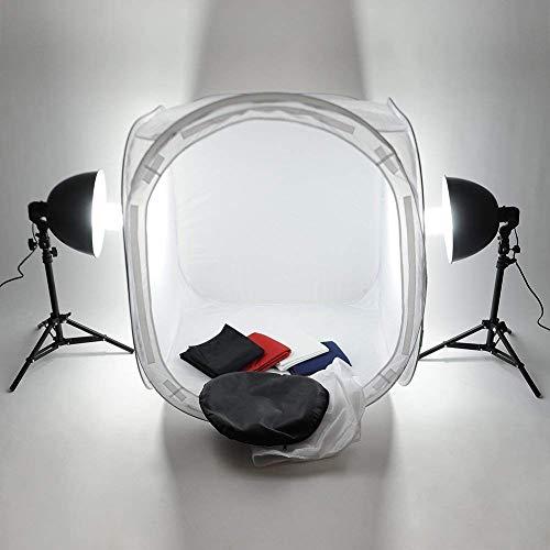 MVPower Fotostudio Set, inklusive Fotozelt/Lichtwürfel (80x80x80cm) mit Fotolampen (2x135W) + 4 Hintergrundstoffen...