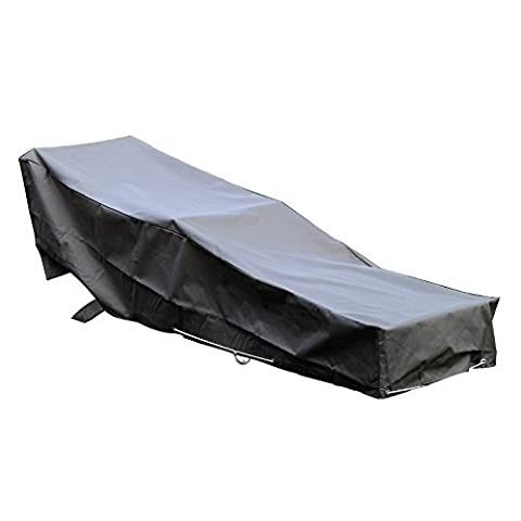 Housse De Protection pour chaise longue transat de jardin Haute Qualité polyester doublée PVC L 205 x l 70 x h 60 cm Couleur