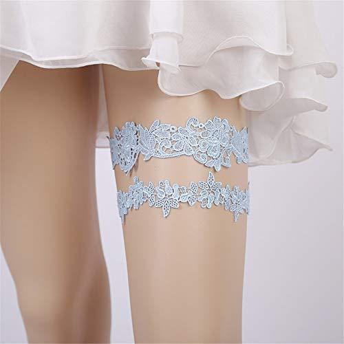YYHSND Europäische Und Amerikanische Braut Strumpfband Spitze Strumpfband Mit Bein Ring Scatola del Tessuto (Farbe : Bunte) - Perle Silber Beine