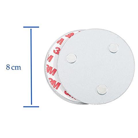 Hmtool Magnetic Smoke Detector Installationswerkzeug, Schnell und einfach Befestigung Deckenmontage Kit für Rauchmelder, kein Benötigter Bohrer Nein Gefahr 10 Sekunden Einbau (8cm, 3 Magnet, 1Stk)