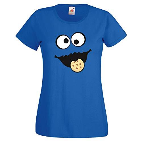 Keks Monster Kinder Mädchen T-Shirt Gruppen Kostüm Karneval Fasching Verkleidung Party JGA Royal Blue 116 (Kindergröße)