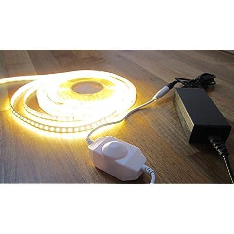 ASS - Tira de iluminación LED de alta potencia (600ledes, 5m, con regulador de intensidad y fuente de alimentación de 5A/12V), luz blanca