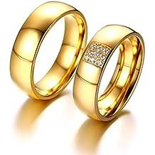 Anazoz Acciaio Inossidabile Alta Lucido Zirconia Gold Anelli Fedine 6MM
