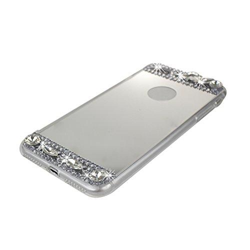 iPhone 7 Plus Glitzer Hülle, Rosa Schleife Slim Phone Case TPU Transparent Cases Glänzend Sparkle Diamant Strass Kristall Spiegel BackCover Handyhülle Silikon Bling Crystal Bumper Schale für iPhone 7  Silber
