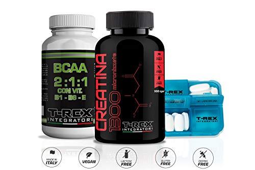 Pre-workout combo: creatina 1300 100 compresse da 1,3g di creatina monoidrato + bcaa 2:1:1 aminoacidi ramificati 120 compresse + portapillole - t-rex integratori