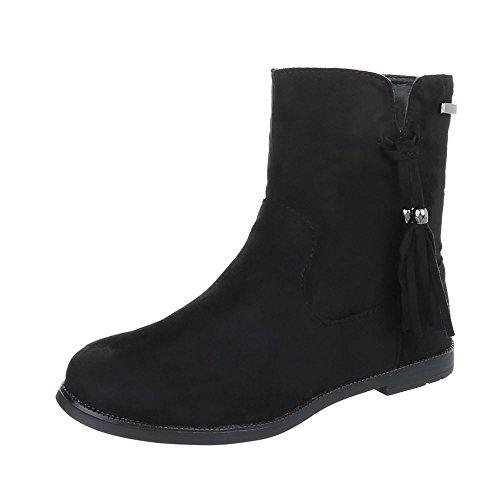 Stiefel & Boots Kinder-Schuhe Klassischer Stiefel Blockabsatz Mädchen Reißverschluss Ital-Design Stiefeletten Schwarz, Gr 33, 108-1- (Schwarze Stiefel Mädchen)
