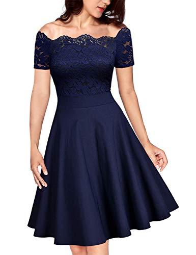 KOJOOIN Damen Vintage 1950er Spitzen Cocktailkleid Brautjungfernkleider für Hochzeit Kurze Abendkleider Dunkelblau (Off Schulter) M/38-40