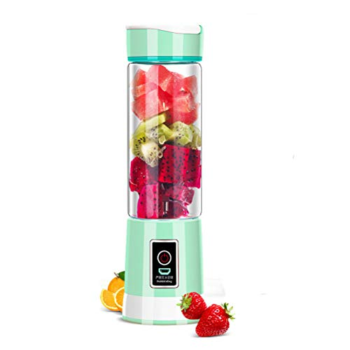 Dbtxwd Persönlicher Mixer, tragbarer Mixer für Shakes und Smoothie, USB-Entsafter-Cup-Fruchtmischungen, wiederaufladbar, 6 Klingen in 3D, 450ml Saftschale,LightGreen