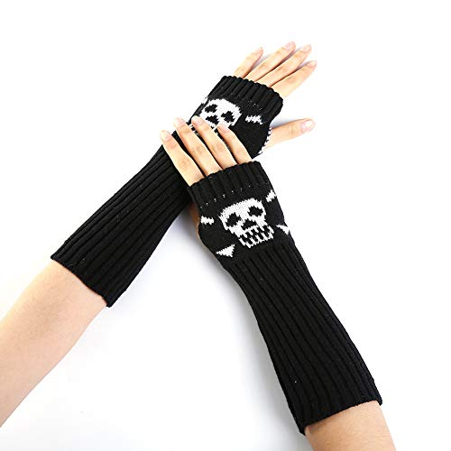 Ndier guanti lunghi lavorati a maglia senza dita di scheletro in maglia con guanti per fori per halloween (nero) 1 paio articolo per halloween