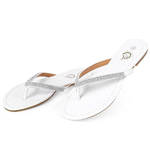 Lisianthus002 sottile a infradito da donna, con cordoncino per un Comfort Brown Bianco (bianco)