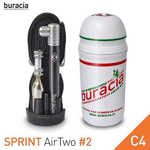 buracia , kompaktes Pannenset Sprint - Serie AirTwo mod. # 2 - C4. Taschenwerkstatt, Fahrradreparaturen, Ersatzteile. Rennrad Kompatibel mit Allen Flaschenhaltern. Made in Italy. (C4)