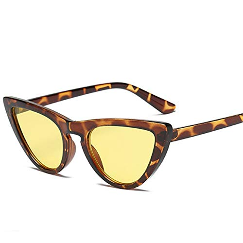 MOJINGYAN Sonnenbrillen,Retro Cat's Eye Männer Frauen Sonnenbrille Catseye Style Sun Slasses Damen Brillen Uv400 Brillen Gelb